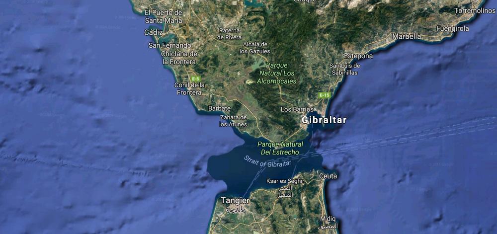 Localização de Gibraltar na Península Ibérica