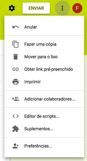 Acesso aos Suplementos do Google Forms