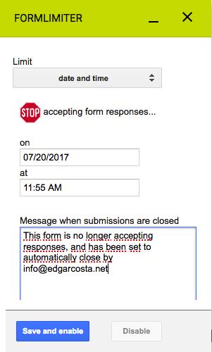 Limitar o preenchimento de um formulário a partir de uma data