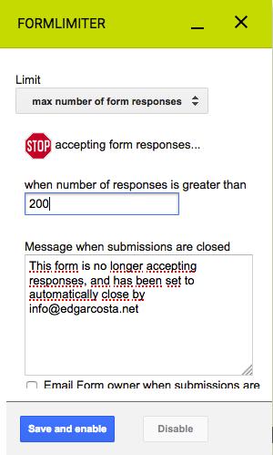 Limitar o preenchimento de um formulário a partir de um número máximo de respostas