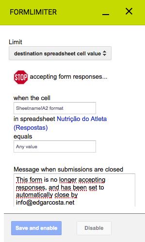 Limitar o preenchimento de um formulário quando uma determinada célula do formulário tem um valor