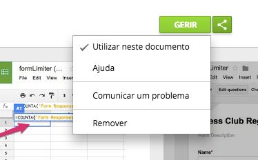 formLimiter em utilização no formulário