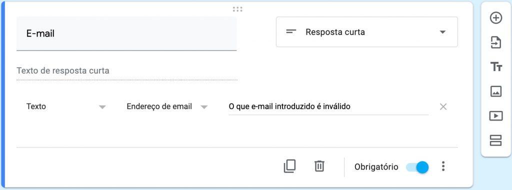 Resposta curta com validação de e-mail
